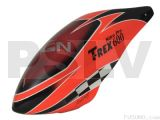 FUC-6005N - FUSUNO NEON ORANGE RACING Painted Fiberglass Canopy Trex 600 Nitro